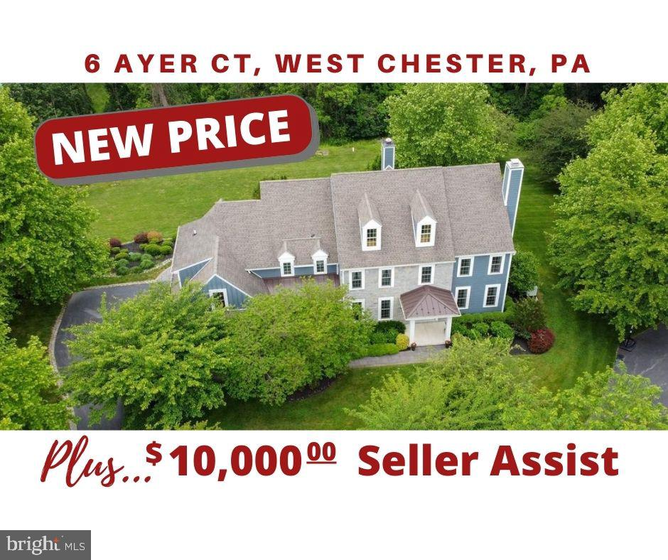 New Price!!! Plus $10,000 seller assist to make it  your own!!    Doesn't get much better!  See it today!!!   Beautiful Olmsted  cul de sac classic in award winning Unionville-Chadds Ford school district.   This stately home is situated on a scenic one plus acre lot with exquisite landscaping that includes Japanese Cherry trees, purple magnolia and several crepe myrtles, rhododendrons, rose bushes, lavender and magnolias all providing seasonal flowering views and fragrance.   Enter this classic center hall colonial to a stately foyer, sweeping  staircase and warm hard wood floors that welcome you into this five-bedroom, four and a half bath home.   The large formal living room has a  gas fireplace;  the formal dining room has upgraded crown molding and wainscoting;  executive office with custom built-ins and French doors for privacy. The huge eat-in gourmet kitchen offers brand new double oven, gas cook top , granite counters, large center island with breakfast bar, and  butler serving area with wine fridge. The kitchen is open into the vaulted-ceiling family room with two-story stone fireplace. There is also a large mudroom with separate entrance.  Dedicated laundry room offers brand new washer with access to the side-entry three car garage. Upstairs, the luxurious owner's suite will not disappoint with its gorgeous tray ceilings, sitting room, custom closets and spa-like bath retreat. Just down the hall is a princess suite, three more large bedrooms and 2 full baths.  There is a rear staircase leading to downstairs. The full daylight walkout basement with bathroom rough-in is ready to be finished with your style and function. From the kitchen and/or basement, the custom two-tiered deck and paver-stone patio overlook your private backyard and built-in grill, perfect for entertaining and taking in the views. The exterior of the home was renovated to include removal of stucco, installation of siding and all new windows at a cost of over $220k.   The home is equipped 