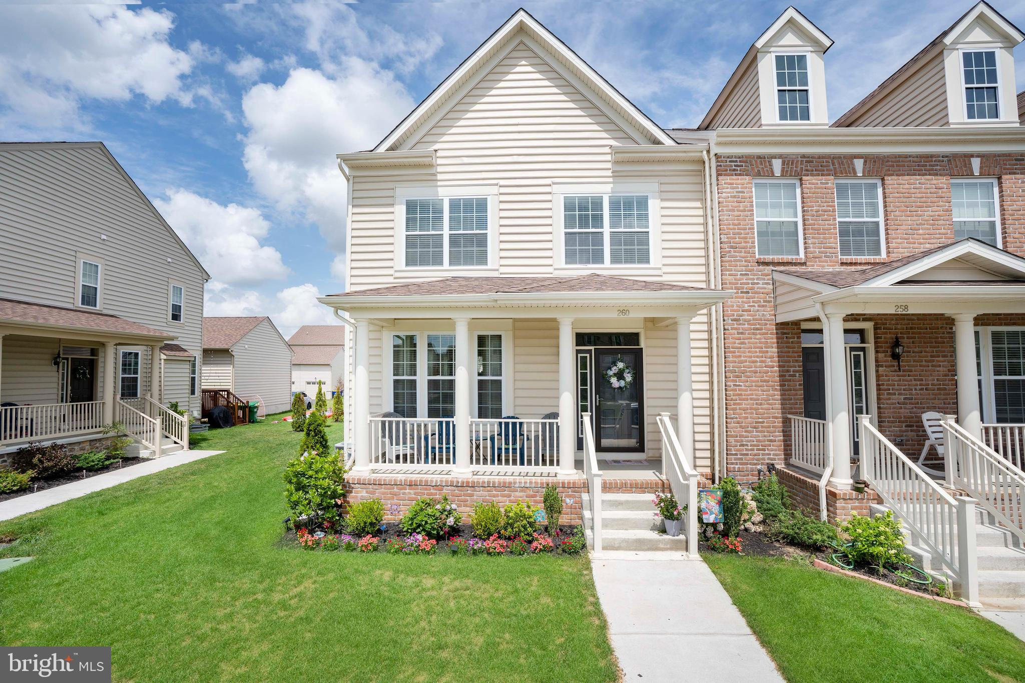 """**Highest and Final Deadline 7/14 at 8pm** 1 Year Young End Unit Carriage Home in the highly desirable Village of Bayberry North & award winning Appoquinimink School District. This stunning 3 Bedroom, 2.5 Bathroom home with rear entry 2 car garage, finished basement and covered front porch offers ample space to grow. This property boasts an open concept floor plan on the first floor that has been recently professionally painted. The kitchen, adjacent to your spacious dining area, features stylish 42"""" cabinets with crown moulding, a large island and stainless steel appliances including a new refrigerator and recessed & pendent lighting to provide  plenty of light when serving up delicious meals for family and friends. Upstairs you will find the amply sized owner's retreat complete with walk in closet and a full bathroom with dual sinks. The 2nd level also features 2 additional generously sized bedrooms, another full bathroom, linen closet and 2nd floor laundry. The fully finished basement is perfect for watching the big game, having that home office, craft room or children's play space. Outside you will find a fully landscaped yard with new entry steps and enough space to enjoy, but not too much to take care of. The community offers plenty of walking paths, multiple community parks and a lake house situated on the bank of the community lake stocked with fish ready for you to cast from the shore or your kayak. Conveniently located to Rt 1, Rt 13, 301 and 896 this home and community offers everything you are looking for. Be sure to add this home to your tour today!"""