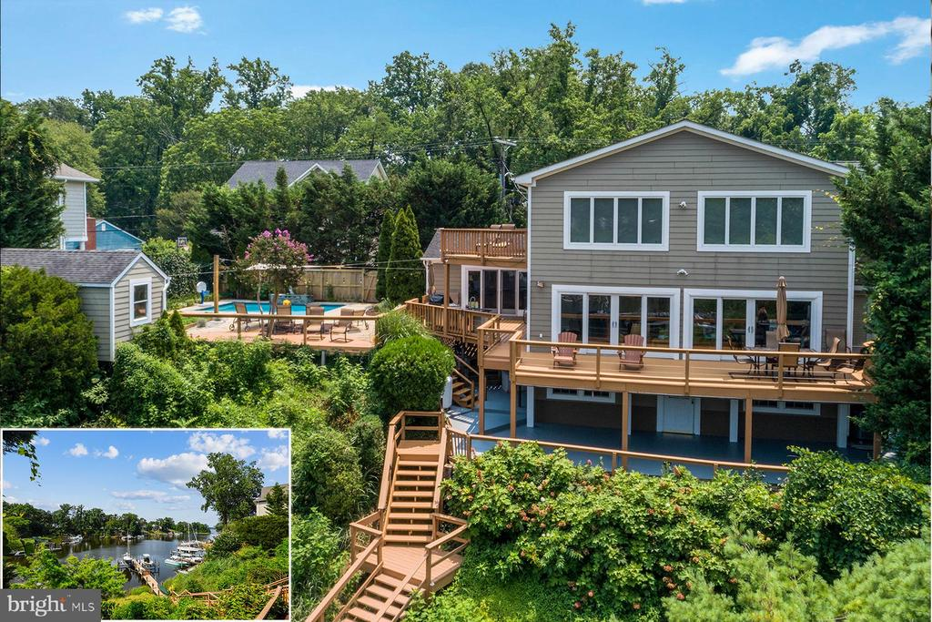 382 Alameda Parkway is a stunning waterfront home with private deep-water pier and a saltwater pool.  This 4-bedroom home is situated on Cool Spring Cove just off the Magothy River. The setting is unsurpassed and is highlighted by the waterside pool, lots of decking, and a Viking built-in outdoor kitchen. Located in a blue-ribbon school district, this home is centrally located with wonderful nearby boating options and quick access to amenities by land.   As you step inside the home you are immediately drawn to the sweeping water views and breathtaking scenes of wildlife on the cove. The open concept floor plan and wall of windows create views from all the main living spaces.  The gourmet kitchen has granite countertops, hardwood floors, beautiful cabinetry, a large island, walk-in pantry, and top-of-the-line appliances. The dining space connects the kitchen to the family room and enjoys the same picturesque views. The wall of windows in the family room floods the space with natural light and there is direct access to the waterside deck and pool area.  Down the hall there are two bedrooms, one with access to the waterside deck, that share a remodeled bathroom. There also is a 3-season half bath on this level that's perfect for pool guests.   Upstairs, the primary bedroom enjoys big water views and a private deck that overlooks the cove and the pool.  The luxurious master bathroom has a jetted soaking tub, separate shower, and a two-sink vanity. There is also a generously sized walk-in closet that includes a washer/dryer combination unit.  The fourth bedroom is upstairs and has a private ensuite bathroom with jetted tub and hand shower.  The walk-out, lower level of the home has a second family room with access to the waterside patio and pool. There is a home office area, exercise space, and a renovated half bathroom. This level is perfect for those who want to work out of the house or have a separate space for guests. Living in this home is like winning the lottery: 