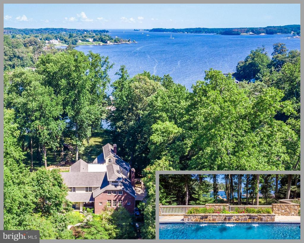 Interior photos coming soon!  This sensational South River waterfront property is an entertainers paradise combining dramatic architectural features, luxury living, artistic landscaping and picturesque year-round water views in the highly sought-after community of Poplar Point. The front entry is defined by the majestic bronzed lion statues on stone platforms that frame the paver driveway.  The mature grasses and plantings, a rolling grassy yard to the waters edge, cool shade trees, fountains and hardscape is enhanced by a stone koi pond complete with a waterfall and a layer of lilly pads plus an idyllic slate and stone courtyard. The home is recognizable to all boaters for the prominent masonry chimneys above the roof line, 3-story tower of windows and the spectacular stone retaining wall.  A private pier extends beyond the living shoreline and can accommodate 2-4 boats, including a 60-ft cruiser. The saltwater swimming pool features a unique sandstone tile decking for barefoot comfort, 3 waterfalls, a row of tropical banana plants and a retractable cover.  A new pool bath sports a sleek beachy theme with a wavy tile shower surround and conch shell basin.  The covered poolside kitchen is fully equipped with stainless steel Traeger, Viking and KitchenAid appliances behind a massive granite bar. Features of the home begin with the 2-story Foyer and hardwood floors which extend throughout most of the main level. Striking and unique craftsman cherry railings are on display with both staircases and landings. The Study is characterized by the reclaimed pine floors and built-in bookcases framing a stone gas fireplace while the Sunroom highlights a 275 gal. saltwater fish tank and panoramic views. The majestic Great Room showcases 3 stories of picture windows overlooking the South River with double-sided stone gas fireplace on prominent display. The Chefs kitchen boasts extensive cream cabinetry contrasting with stylish granite counters to include a huge 2-tier center isla