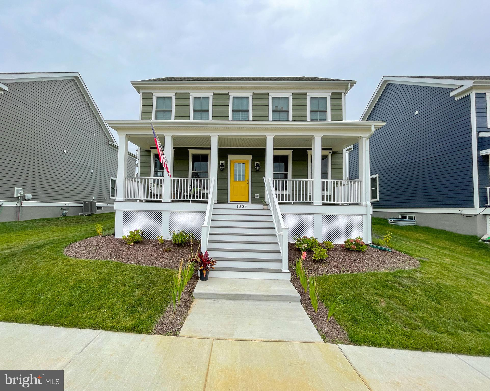 """Welcome to 1804 Tandem St in the beautiful town of Whitehall, conveniently located near all shopping, grocery stores, roadways and within the award winning Appoquinimink School District! This gem was just completed March 2021 and still under the 1/2/10 builder warranty. You will fall in love with this home from the second you see the covered front porch! The porch was constructed for a future heavy-duty swing to be installed. Once you enter the front door, you will take in the grand open floor plan, resilient waterproof flooring throughout the main level, a HUGE Bay window with an elongated bench seat, large formal dining room, HUGE living room with an ample amount of (Anderson) windows, large kitchen, eat-in breakfast area, butler's pantry, mud room and half bath. The kitchen has plenty of recessed lighting, stainless appliances, beautiful 42"""" Tahoe maple cabinets, gas cooking, granite countertops, food pantry, and a large island. There is a 21x21 rear entry two car garage (fully dry walled) with inside access leading into the mud room. The oak staircase will lead you to the upper level which consists of four large bedrooms, two full bathrooms and a generous sized laundry room. The primary bedroom has TWO huge walk-in closets, and an amazing bathroom! This bathroom has a huge soaking tub, double sink vanity with a marble countertop, linen closet and a gorgeous fully tiled walk in shower and ceramic tile flooring. The hall bath also has ceramic tile flooring, marble countertop and a shower/tub combo. The remaining three bedrooms all have walk-in closets and every room has rough in's for ceiling fans. The basement is unfinished but ready for your personal touch! There is a three-piece rough in for a future bathroom, a rough in/plumbing line ready for a future bar and dishwasher! You also have a 30 year roof warranty, 5&1/4 baseboards in the main level, 8&1/4 hardiwrap siding, R13-19 insulation, Gas water heater and Gas heating. This home has so much to offer! Why wai"""