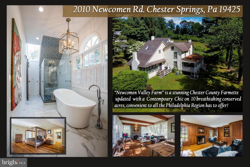 """""""Newcomen Valley Farm"""" is a remarkable collection of original buildings dating to the early 1800s on ten breathtaking conserved acres with a spring-fed pond. This stunning farmette will appeal to both new home buyers & historic home enthusiasts while offering a unique opportunity for diverse uses. A NATURE LOVER'S PARADISE - comprised of woodlands, open fields, pond & partial wetlands with a variety of native trees & florae handsomely situated on a 10-acre lot, under National Lands Trust conservancy. Perfect for that special buyer looking for a conveniently located Country property and/or enough space for gardens, bees, sheep, goats &/or a small number of horses/cows. Do not miss this chance to make this one-of-a-kind property your own!  In the heart of historic Chester County, Contemporary Chic meets Classic Chester County Farmette in this renovated Charlestown Township gem! The present owner has invested in significant upgrading of the buildings, which include: 4BR, 3.5 Bath Farmhouse, 1BR Guesthouse, stone Bank Barn with Office/Storage/Game Room/Stalls, 2 detached Garages, Springhouse & small Kennel. Experience country living with easy access to routes 401, 202, 76, 113 and 100.  King of Prussia Mall, Valley Forge National Park, cultural sites of the Brandywine Valley and Philadelphia are within easy reach.  Prestigious Great Valley School district!  Circular driveway accesses property off Rt 401.  The oldest section of the Farmhouse is comprised of a 2-story German Bank House w two spacious additions totaling over 4,000 sf!  A convenient potential Office/Den is set off the Foyer entrance w large windows.  The Foyer leads to a Gourmet Kitchen w Island, gorgeous new marble countertops, new Jenn-Air stovetop, two Kraus sinks, three Delta faucets & two Bosch dishwashers.  The Kitchen opens to the Great Room/Family w magnificent beamed high ceilings, walls of windows overlooking pond, hearth & polished brick flooring.  A classy Dining Room lies off the Kitchen in the"""