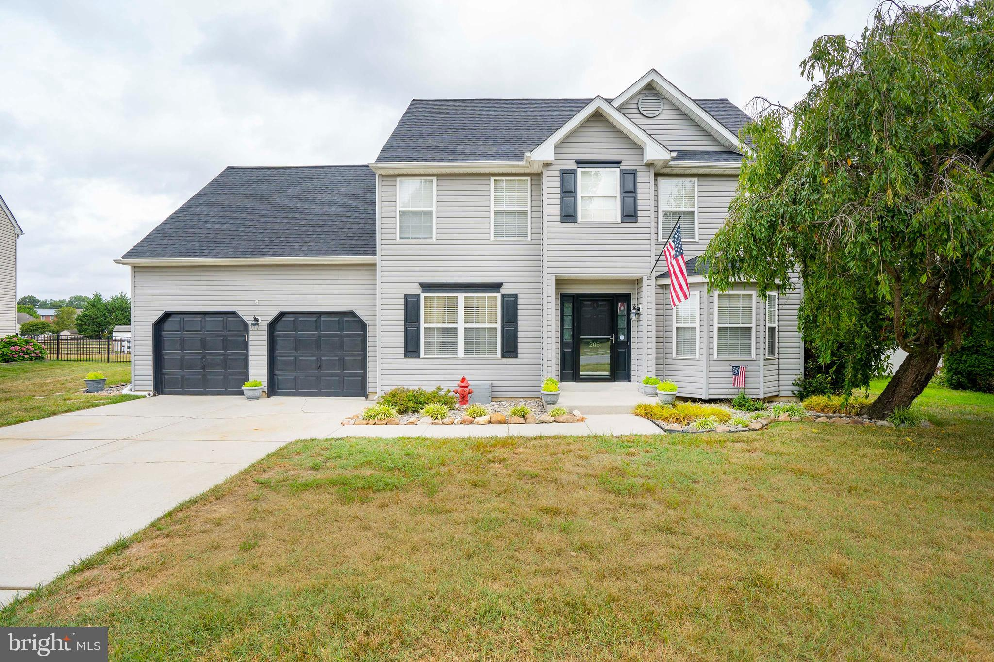 **Highest and Final Deadline 8/29 at 8pm** Seller will make a decision by Monday at noon. Welcome to 205 Bellmont circle, in the desired community of Townsend Station.  This beautiful,  well maintained home is located in the Appoquinimink  school district.  Entering the home you will find beautiful laminate flooring throughout.  The Kitchen with eat-in breakfast area has recently been updated. You will find an added pellet stove in the main living room  to create a warm cozy atmosphere. The second floor  consists of 4 spacious bedrooms, 2 full baths as well as a laundry area.  In the master you will find vaulted ceiling, a large master bath with a soaking tub and double vanity, as well as walk in closet. Entertain guests outside on the concrete patio with a beautiful trellis and then relax in the beautiful spa with a gazebo. The spacious  back yard is fenced.  This home also has a large 2 car garage with access to the back yard.   An irrigation system is located in the front yard to keep the lawn plush. Have confidence during bad weather with a newer roof with 50 year architectural shingles.  Do not miss an opportunity to own a great home! Schedule your tour today!!