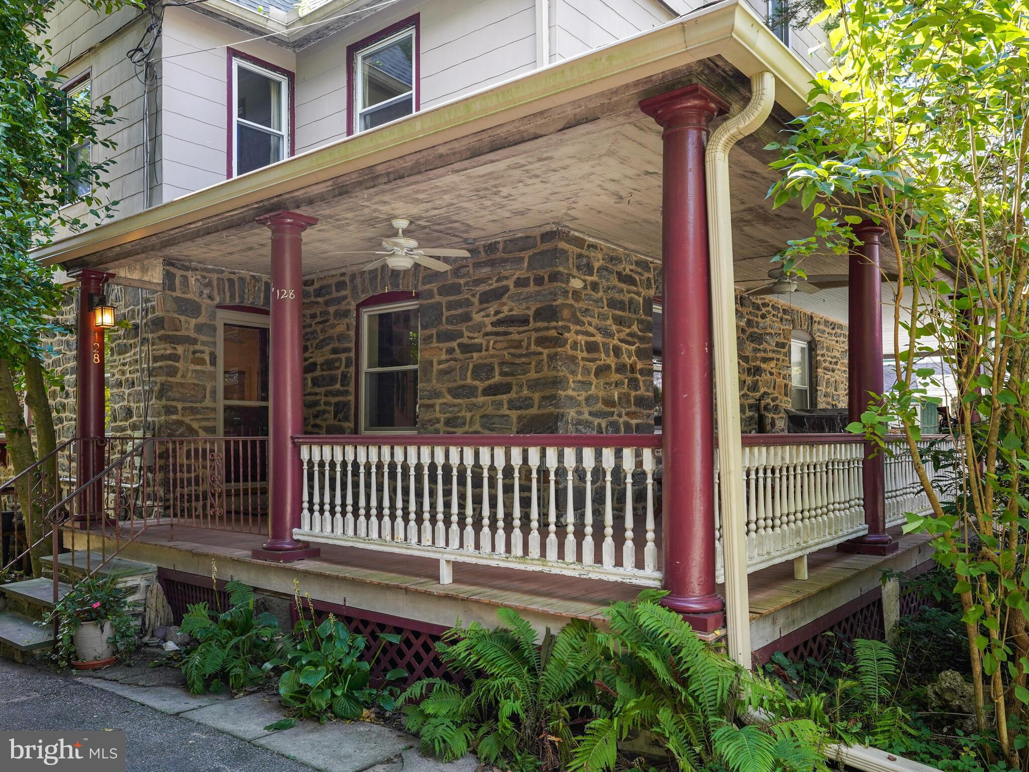 """This big Narberth twin is the definition of a home with good bones. Roof replaced in 2018, exterior pointed in 2013, entire home rewired in 2012, all windows replaced in 2005, boiler/heater replace in 2002, and much more maintenance has already been completed. You will need to do painting and updating, but many vintage features will let you feel the warm heart of this fine home. The open porch spans the front and side of this 3-story home. Here you'll enjoy pleasant meals and friendly conversations with neighbors. The 1st floor has an open flow from living room to dining room and a nice breakfast bar and pass-through to the eat-in kitchen. The dining room bay window has  beautiful 3-panel stained & leaded glass transom windows. A mudroom and half bath complete the 1st floor. Use the back staircase from the kitchen or the main stairway to access the 2nd floor. It has 3 large bedrooms and 1 full bath. A 2nd bath can be added in the middle bedroom to make a main suite with the front bedroom. The 3rd floor has 2 large bedrooms (private """"work from home"""" space) and a big landing that could accommodate another bath. The laundry is in the unfinished basement. There are also handy work benches and several shelves in the basement. The private back yard includes a low-maintenance koi pond, a playhouse for kids, raised bed gardens, and many beautiful perennial plants. The 2-car driveway is a nice feature. The home access the excellent Lower Merion School District. And, of course, it has all the conveniences of Narberth - 1 block to the train station and shopping district, a short walk to the playground, ball fields, tennis courts, basketball courts, and the Narberth Library. And take a pleasant walk through Shortidge Park just 3 blocks away in Wynnewood. Come make this your great new home in Narberth. Showings begin Tuesday 9/21 and any offers will be reviewed beginning 2:00 PM Saturday 9/25"""