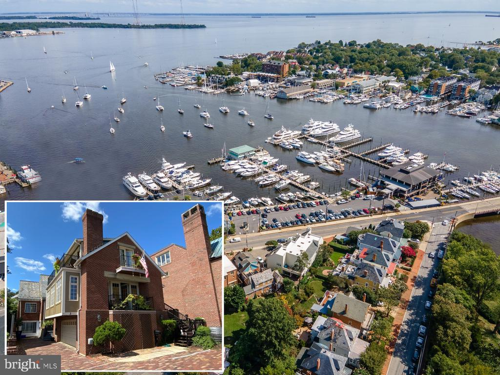 """Rare opportunity to live in the heart of Annapolis overlooking the Annapolis Harbor with stunning views between the Waterfront Hotel and the Annapolis Yacht Club. That's correct, right in the center of all the action!  The main house was built in 1995 and the original 1947 home has been updated to provide 3 individual rental units which can be used for generating incoming or as a family compound.  Move in """"as-is"""" and have instant rental income or completely redesign to convert into a single- family home.  The possibilities are endless!  Whichever you choose, the spectacular views and prime location will never disappoint.  Walk to everything Annapolis and Eastport have to offer, enjoy watching all the water activities from your balcony.  Invite tons of guests to take advantage of the 2-car garage and 6 off street parking spots in the driveway which is paved with 1890's Main Street stone.  The main home at approximately 4,200 sqft. provides 3 bedrooms, 2.5 baths, and multiple balconies overlooking historic Compromise Street and the Annapolis Harbor. Unit B offers 2 bedrooms, 2.5 baths and Unit C offers 2 bedrooms and 1 full bath.  Just steps outside the front door enjoy strolling the artful and nautical streets to amenities like; five-star restaurants, pubs and street-end parks with hidden treasures.  Not to mention you are merely steps away from downtown Annapolis and the Naval Academy.  Pop across the Spa Creek drawbridge or motor in the water taxi over to Eastport and soak up the relaxed vibe.  Annapolis offers the perfect balance of small-town charm and big world sophistication.  Located just 5 miles to Rt. 50 and 97 which provides direct access to Baltimore, BWI, Ft. Meade/NSA and Washington, DC."""
